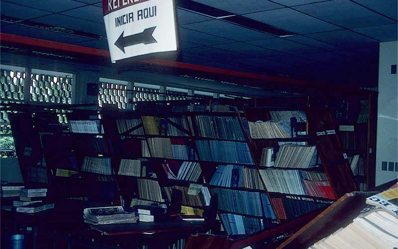 Costa Rica 1991 – The interior of this school library was a mess.  Somehow some of the bookcases remained standing, but obviously would be hazardous if school children were present.