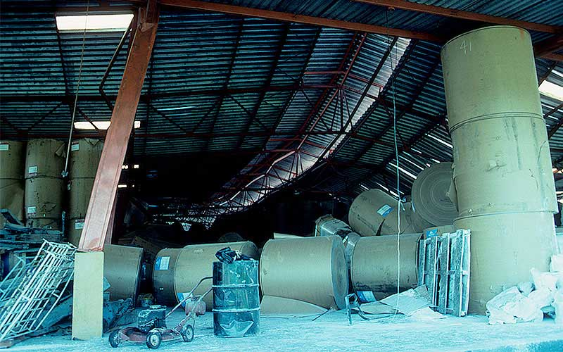 Costa Rica 1991 – This was the first time I had seen a steel framed building collapse, but then we realized that the contents actually knocked the building down. These large rolls of paper were roughly 5' tall with a 4' diameter.  When they were stacked 3 and 4 high, that stack became very precarious when the shaking started.