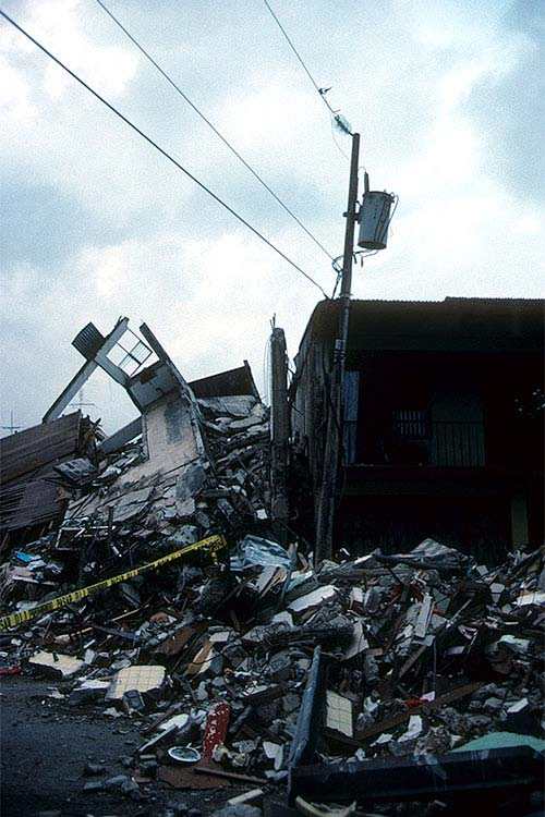 Costa Rica 1991 – This building was older and in very poor condition before the earthquake.  Constructed of non-ductile concrete and unreinforced masonry, it had little chance of survival when hit by the earthquake shaking.