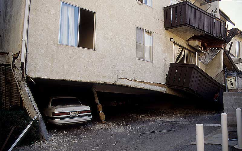 Northridge 1994 - One of the numerous apartment complexes near the epicenter where the carport /1st story collapsed or was near collapse.  More victims were killed in this type of collapse by far than any other in this earthquake.