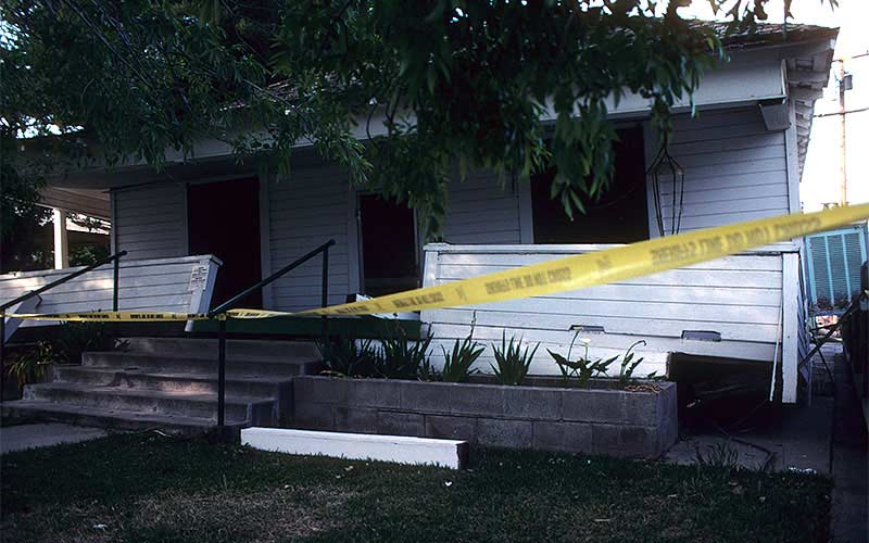 Ferndale 1992 – This is one of many examples of where a one-story wood framed house slipped off of its cripple walls. The house was relatively undamaged, but the utilities obviously were disturbed.