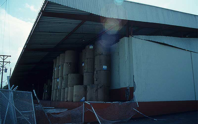 Costa Rica 1991 – The first time I had seen a steel framed building collapse, but then we realized that the contents actually knocked the building down. These large rolls of paper were roughly 5' tall with a 4' diameter.  When they were stacked 3 and 4 high, that stack became pretty precarious when the shaking started.