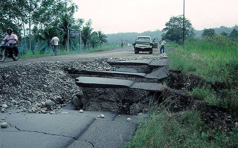 Costa Rica 1991 - The road next to the river had settled severely due to lateral spreading.  If you weren't in a 4-wheel drive, you couldn't get by.