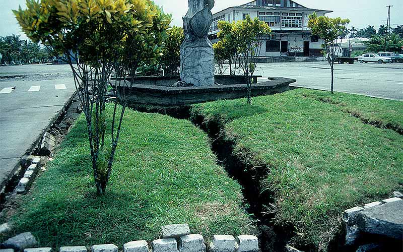 Costa Rica 1991 - In the main square of Puerto Limon there were numerous visual symptoms of liquefaction. This photo shows cracks in the ground as a result of some severe lateral spreading.