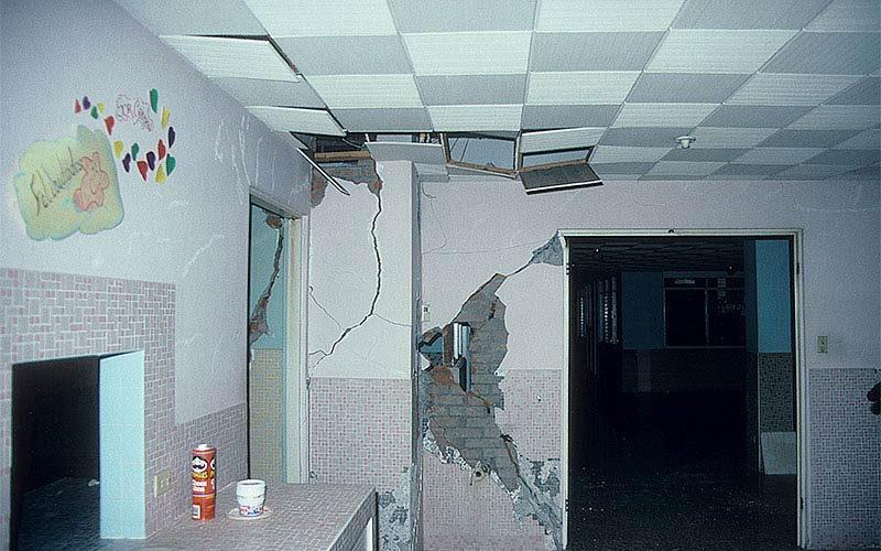 Costa Rica 1991 - We could find only minor structural damage in this hospital, but the damage to other systems - ceilings, partitions, lighting, sprinklers and more was significant and they abandoned the building.